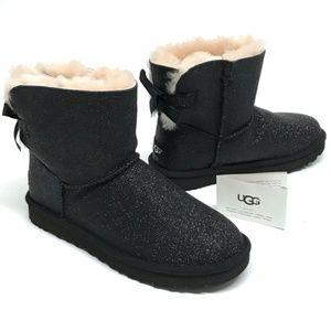 79895e5b7e0 UGG Mini Bailey BOW SPARKLE Boots BLACK 11 NIB NWT